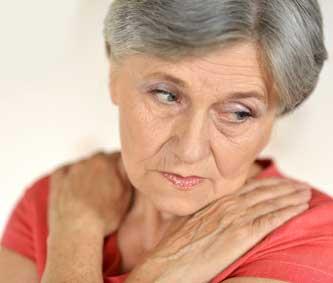 Frau mit Herpes Zoster, Gürtelrose Erkrankung